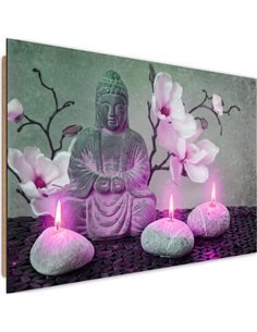 Tableau bois Buddha with orchids and candles 2