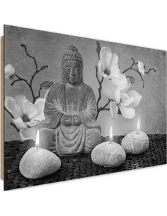 Tableau bois Buddha with orchids and candles 3