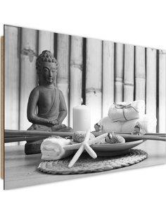 Tableau bois Buddha with a candle 3
