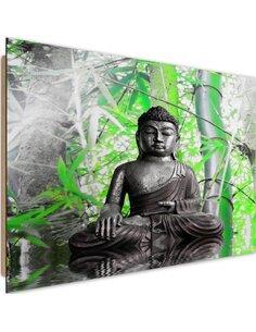 Tableau bois Buddha and bamboo 1