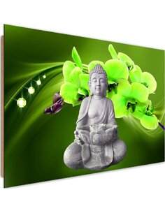 Tableau bois Buddha with orchids 3