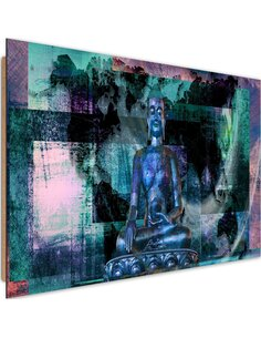 Tableau bois Buddha and abstract background 2