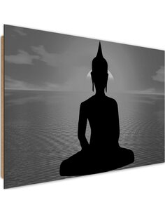 Tableau bois Figure of Buddha at sunset 3