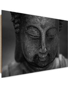 Tableau bois Head Buddha 3