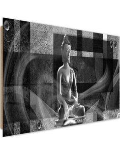 Tableau bois Buddha on geometric background