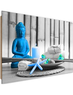 Tableau bois Buddha with candle