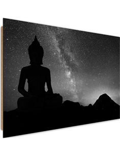 Tableau bois Buddha and the aurora borealis