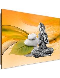 Tableau bois Metal Buddha