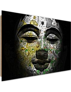 Tableau bois Face Buddha in patterns