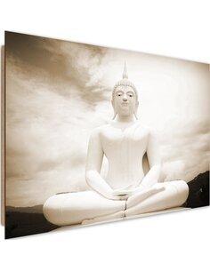 Tableau bois Buddha and the sky