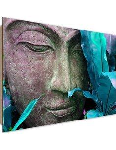 Tableau bois Face Buddha with leaf