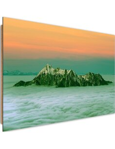 Tableau bois peaks above the clouds 4