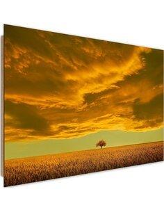 Tableau bois Lone tree in field 4