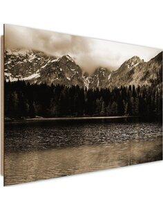 Tableau bois Mountain lake 1
