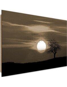 Tableau bois Birds at sunset 1