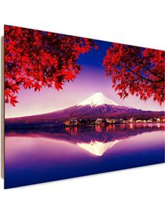 Tableau bois Mount Fuji and Lake