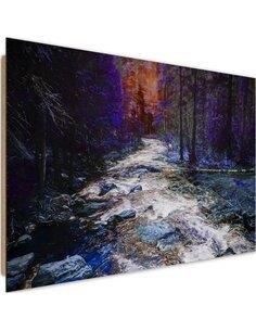 Tableau bois Fairytale forest river