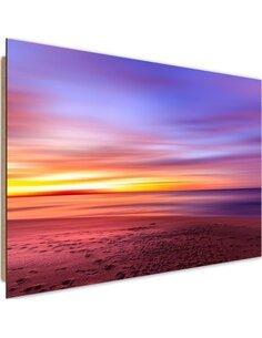 Tableau bois sunset over the sea