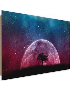 Tableau bois huge moon behind a tree