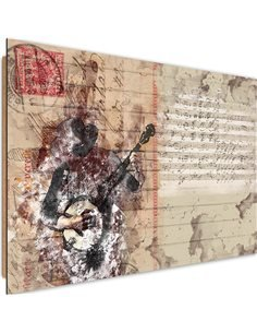 Tableau bois abstract musician