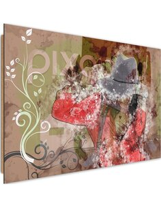 Tableau bois girl in a hat abstraction