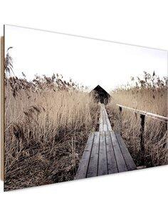 Tableau bois Old bridge in the high reeds