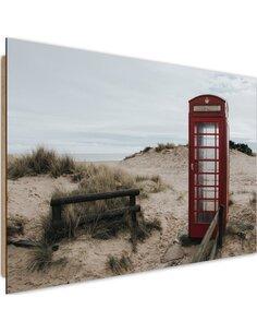 Tableau bois telephone booth on the beach