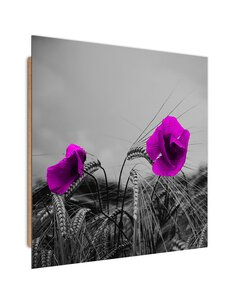Tableau bois Purple poppies and corn