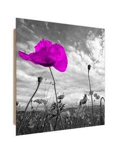 Tableau bois Purple poppy