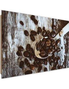Tableau bois Grains of coffee on a spoon