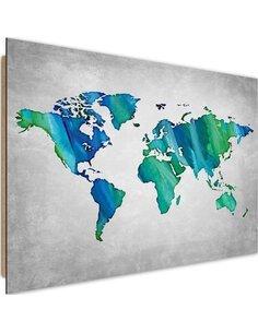 Tableau bois Blue-green world map