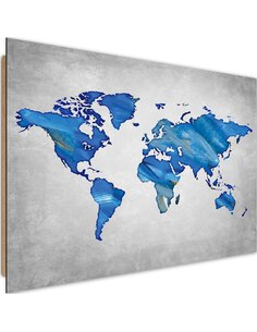Tableau bois dark blue map of the world on concrete
