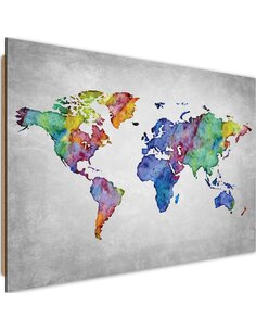 Tableau bois Multicolor world map