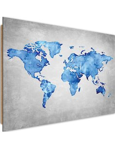 Tableau bois blue map of the world