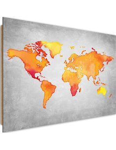 Tableau bois Orange world map