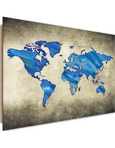 Tableau bois dark blue world map