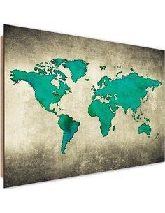 Tableau bois green world map