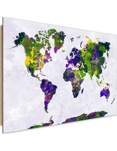 Tableau bois Painted world map