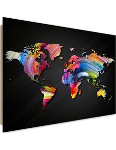 Tableau bois world map with different colors