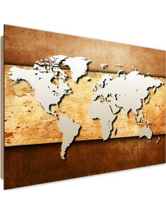 Tableau bois map of the world on board