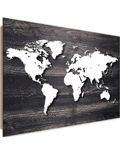 Tableau bois World map on a gray wood