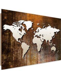 Tableau bois World map on wood