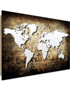 Tableau bois Old vintage world map