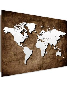 Tableau bois Old world map
