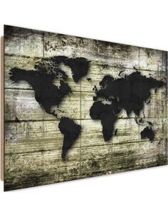 Tableau bois the Black world map on the boards
