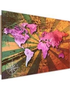 Tableau bois Pink vintage world map