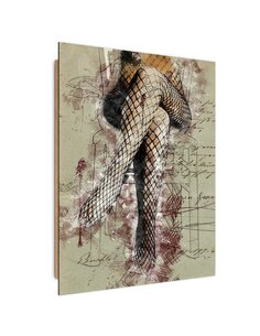 Tableau bois Feminine legs in fishnets abstraction