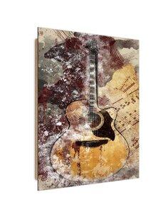 Tableau bois Abstract vintage guitar