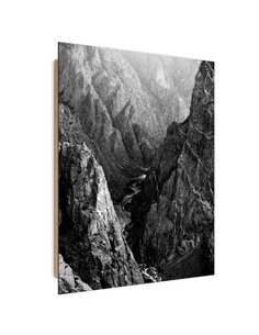 Tableau bois Black and white mountain landscape