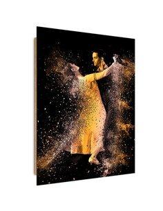 Tableau bois couple dancing in a golden dust